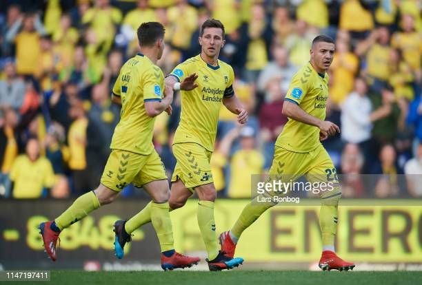 Dominik Kaiser Kamil Wilczek and Josip Radosevic of Brondby IF celebrate after scoring their first goal during the Danish Superliga Europa League...