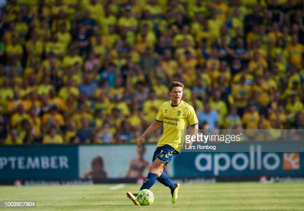 Dominik Kaiser of Brondby IF controls the ball during the Danish Superliga match between Brondby IF and Vejle Boldklub at Brondby Stadion on July 22...