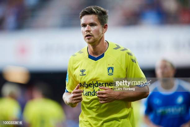 Dominik Kaiser of Brondby IF in action during the Danish Superliga match between Randers FC and Brondby IF at BioNutria Park on July 16 2018 in...