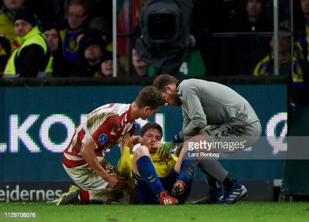 Dominik Kaiser of Brondby IF injured during the Danish Superliga match between Brondby IF and AaB Aalborg at Brondby Stadion on March 10 2019 in...