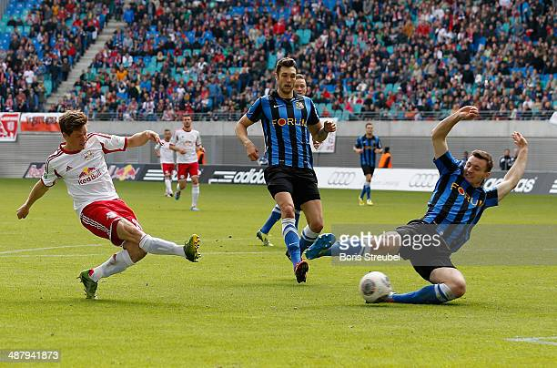 Dominik Kaiser of Leipzig scores his team's fifth goal during the third league match between RB Leipzig and 1 FC Saarbruecken at Red Bull Arena on...