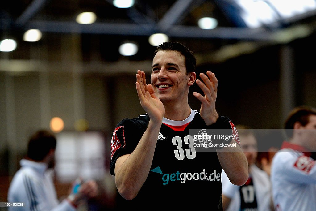 Dominik Klein of Germany celebrates after the DHB International Friendly match between Germany and Switzerland at Conlog-Arena on March 10, 2013 in Koblenz am Rhein, Germany.