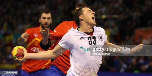 Dominik Klein of Germany takes a shot during the men's Handball World Championships quarterfinal match Spain vs Germany in Saragossa Spain 23 January...