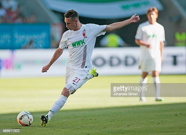 Dominik Kohr of Augsburg in action during the Bundesliga match between FC Augsburg and FC Ingolstadt at WWK Arena on August 29 2015 in Augsburg...