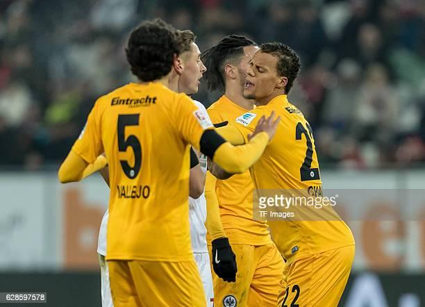 Dominik Kohr of Augsburg und Timothy Chandler of Frankfurt gestures during the Bundesliga match between FC Augsburg and Eintracht Frankfurt at WWK...