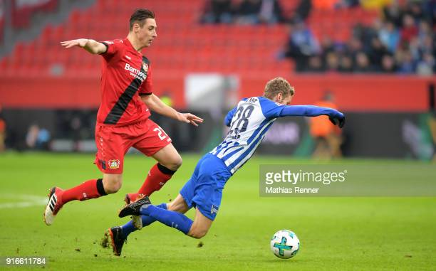 Dominik Kohr of Bayer 04 Leverkusen and Fabian Lustenberger of Hertha BSC during the first Bundeliga game between Bayer 04 Leverkusen and Hertha BSC...