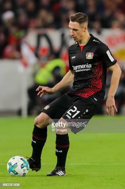 Dominik Kohr of Bayer Leverkusen controls the ball during the Bundesliga match between VfB Stuttgart and Bayer 04 Leverkusen at MercedesBenz Arena on...