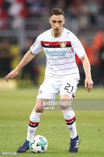 Dominik Kohr of Bayer Leverkusen controls the ball during the Bundesliga match between Borussia Dortmund and Bayer 04 Leverkusen at Signal Iduna Park...