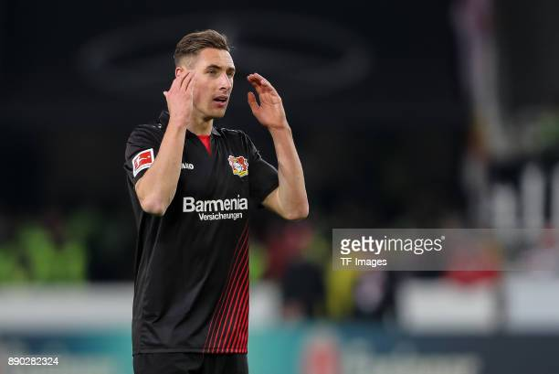 Dominik Kohr of Bayer Leverkusen gestures during the Bundesliga match between VfB Stuttgart and Bayer 04 Leverkusen at MercedesBenz Arena on December...