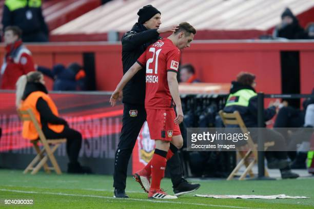 Dominik Kohr of Bayer Leverkusen is leaving the pitch after receiving a red card coach Heiko Herrlich of Bayer Leverkusen during the German...