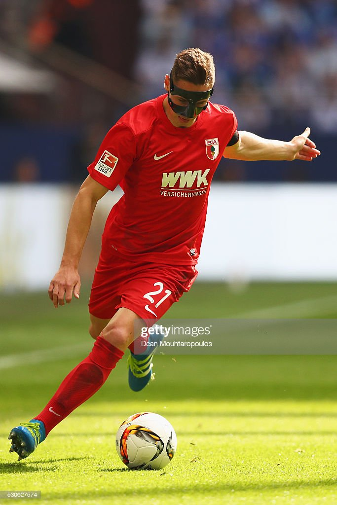 Dominik Kohr of FC Augsburg in action during the Bundesliga match between FC Schalke 04 and FC Augsburg held at Veltins-Arena on May 7, 2016 in Gelsenkirchen, Germany.