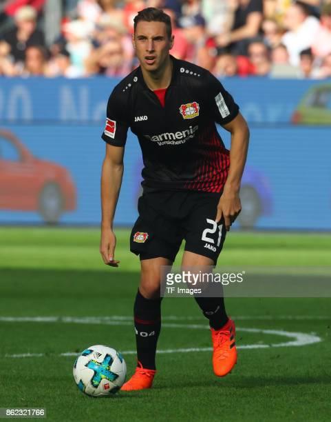 Dominik Kohr of Leverkusen controls the ball during the Bundesliga match between Bayer 04 Leverkusen and VfL Wolfsburg at BayArena on October 15 2017...