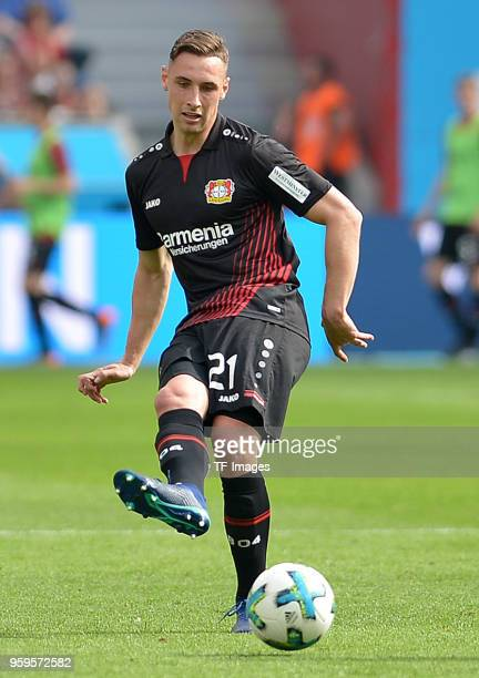 Dominik Kohr of Leverkusen controls the ball during the Bundesliga match between Bayer 04 Leverkusen and Hannover 96 at BayArena on May 12 2018 in...