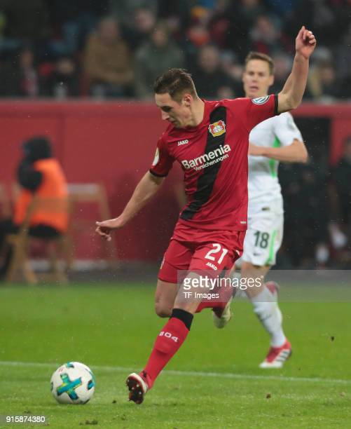 Dominik Kohr of Leverkusen controls the ball during the DFB Cup match between Bayer Leverkusen and Werder Bremen at BayArena on February 6 2018 in...