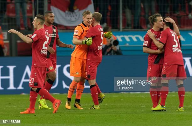 Dominik Kohr of Leverkusen Jonathan Tah of Leverkusen Goalkeeper Bernd Leno of Leverkusen Sven Bender of Leverkusen Julian Baumgartlinger of...