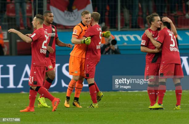 Dominik Kohr of Leverkusen Jonathan Tah of Leverkusen Goalkeeper Bernd Leno of Leverkusen Sven Bender of Leverkusen Julian Baumgartlinger of...