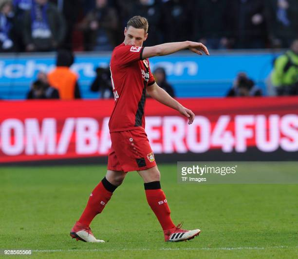 Dominik Kohr of Leverkusen leaves the field during the Bundesliga match between Bayer 04 Leverkusen and FC Schalke 04 at BayArena on February 25 2018...