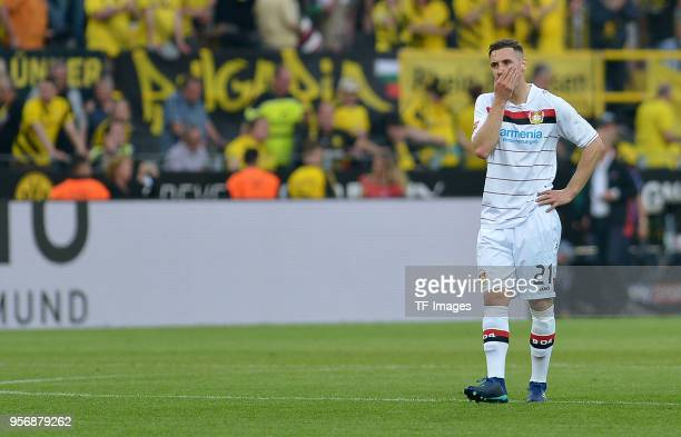 Dominik Kohr of Leverkusen looks dejected during the Bundesliga match between Borussia Dortmund and Bayer 04 Leverkusen at Signal Iduna Park on April...