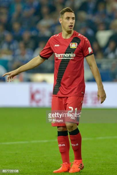 Dominik Kohr of Leverkusen looks on during the Bundesliga match between FC Schalke 04 and Bayer 04 Leverkusen at VeltinsArena on September 29 2017 in...