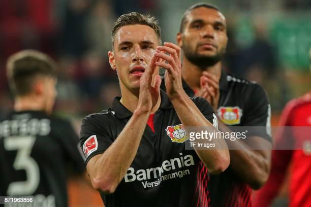 Dominik Kohr of Leverkusen looks on during the Bundesliga match between FC Augsburg and Bayer 04 Leverkusen at WWKArena on November 4 2017 in...