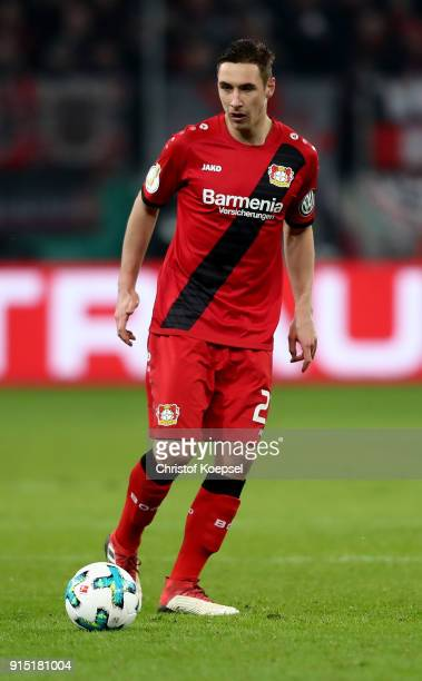 Dominik Kohr of Leverkusen runs with the ball the DFB Cup quarter final match between Bayer Leverkusen and Werder Bermen at BayArena on February 6...