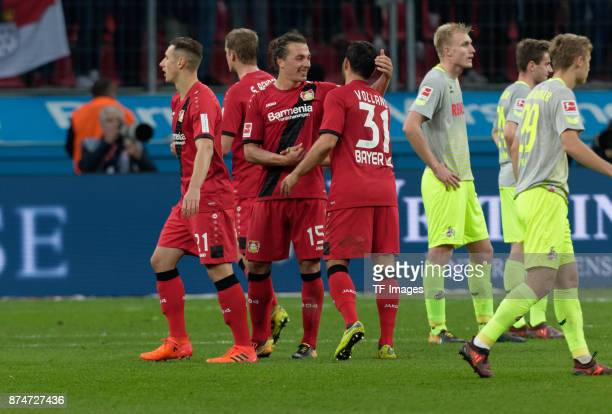Dominik Kohr of Leverkusen Sven Bender of Leverkusen Julian Baumgartlinger of Leverkusen and Kevin Volland of Leverkusen celebrate after winning...