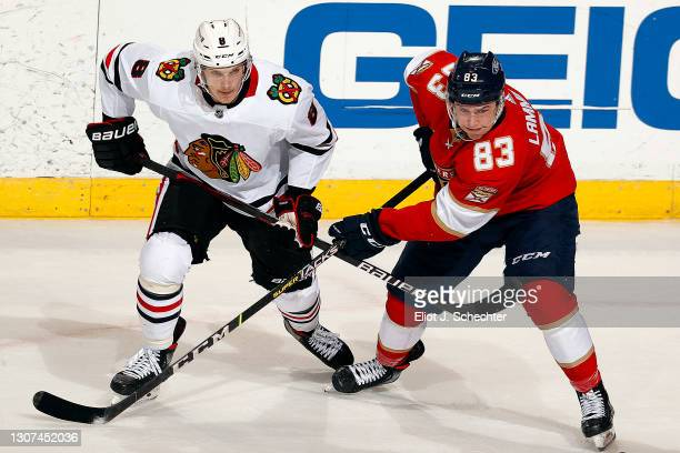 Dominik Kubalik of the Chicago Blackhawks crosses sticks with Juho Lammikko of the Florida Panthers at the BB&T Center on March 15, 2021 in Sunrise,...