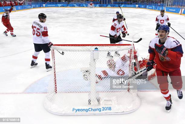 Dominik Kubalik of the Czech Republic celebrates after scoring a goal on Jonas Hiller of Switzerland in the third period during the Men's Ice Hockey...