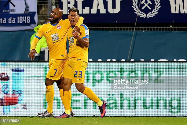 Dominik Kumbela of Braunschweig celebrates the first goal with Onel Hernandez during the Second Bundesliga match between VfL Bochum 1848 and...