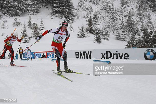Dominik Landertinger competes during the mens 10 km sprint event in the IBU Biathlon World Cup on December 10 2010 in Hochfilzen Austria