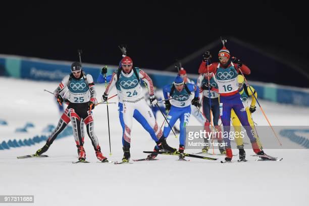 Dominik Landertinger of Austria Andrejs Rastorgujevs of Latvia Dominik Windisch of Italy Timofei Lapshin of Korea compete during the Men's Biathlon...