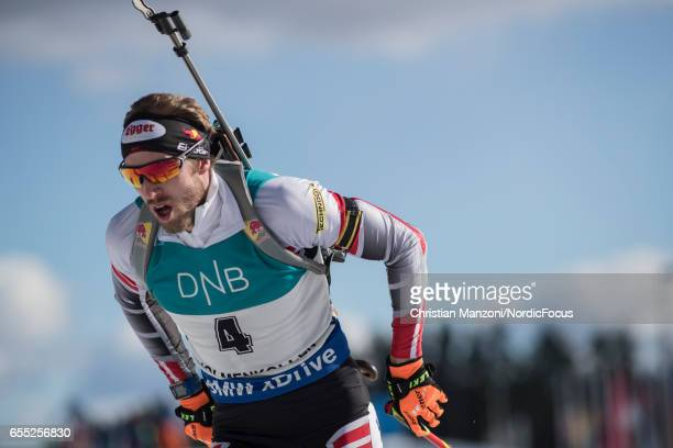Dominik Landertinger of Austria competes during the 15 km men's Mass Start on March 18 2017 in Oslo Norway