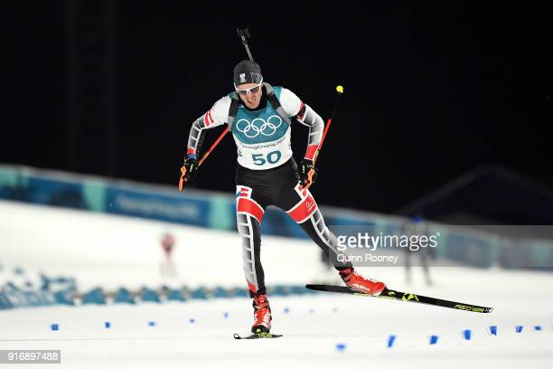 Dominik Landertinger of Austria competes during the Men's 10km Sprint Biathlon on day two of the PyeongChang 2018 Winter Olympic Games at Alpensia...