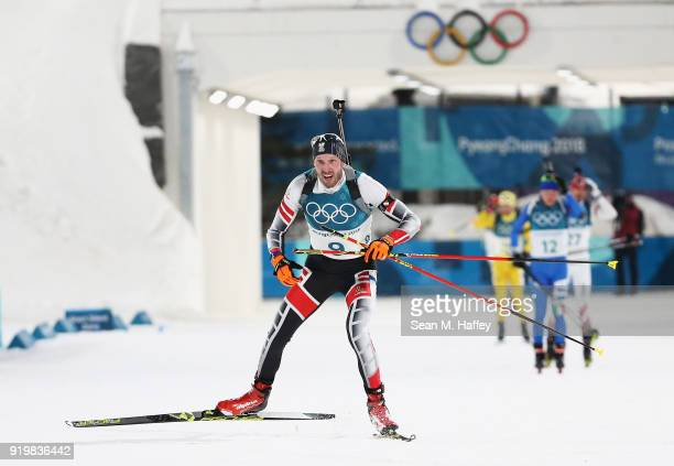 Dominik Landertinger of Austria competes during the Men's 15km Mass Start Biathlon on day nine of the PyeongChang 2018 Winter Olympic Games at...