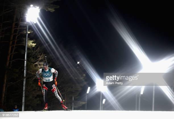 Dominik Landertinger of Austria competes during the Men's 20km Individual Biathlon at Alpensia Biathlon Centre on February 15 2018 in Pyeongchanggun...