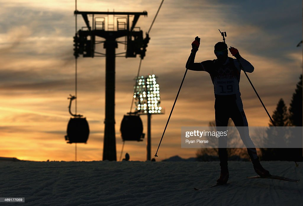 Dominik Landertinger of Austria competes during the Men's 20km Indvidual Biathlon during day six of the Sochi 2014 Winter Olympics at Laura Cross-country Ski & Biathlon Center on February 13, 2014 in Sochi, Russia.