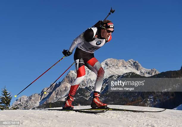 Dominik Landertinger of Austria competes in the men's 10 km sprint event during the IBU Biathlon World Cup on December 12 2014 in Hochfilzen Austria