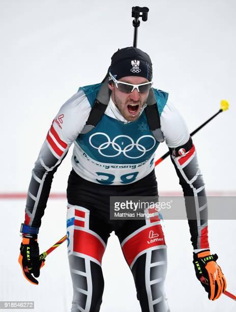 Dominik Landertinger of Austria finishes during the Men's 20km Individual Biathlon at Alpensia Biathlon Centre on February 15 2018 in Pyeongchanggun...