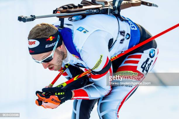 Dominik Landertinger of Austria in action during the IBU Biathlon World Cup Men's Individual on January 10 2018 in Ruhpolding Germany