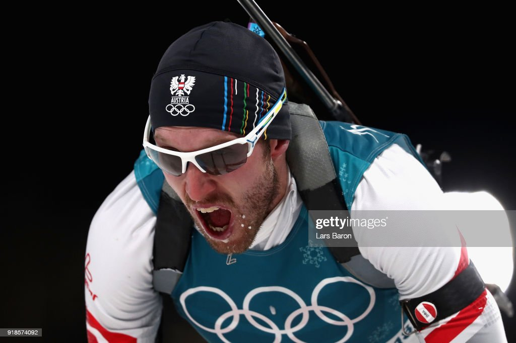 Dominik Landertinger of Austria reacts at the finish during the Men's 20km Individual Biathlon at Alpensia Biathlon Centre on February 15, 2018 in Pyeongchang-gun, South Korea.