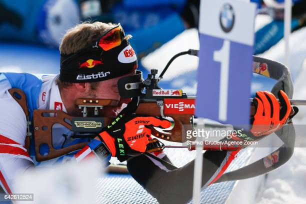 Dominik Landertinger of Austria wins the bronze medal during the IBU Biathlon World Championships Men's Relay on February 18 2017 in Hochfilzen...