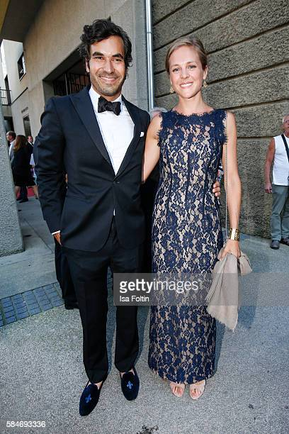 Dominik Lanz and his wife Helena von Kaleneck attend the premiere of the opera 'Cosi Fan Tutte' on July 29 2016 in Salzburg Austria
