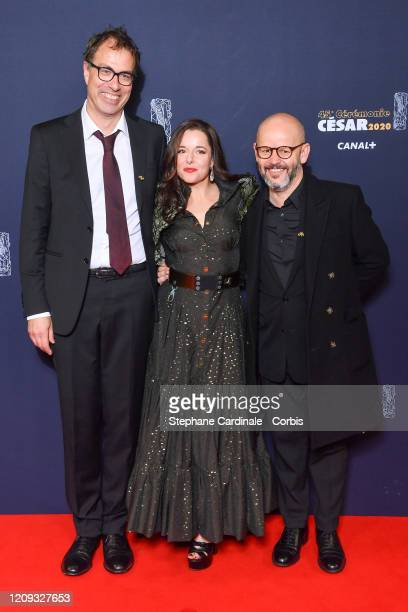 Dominik Moll, Laure Calamy and Gilles Marchand arrive at the Cesar Film Awards 2020 Ceremony At Salle Pleyel In Paris on February 28, 2020 in Paris,...
