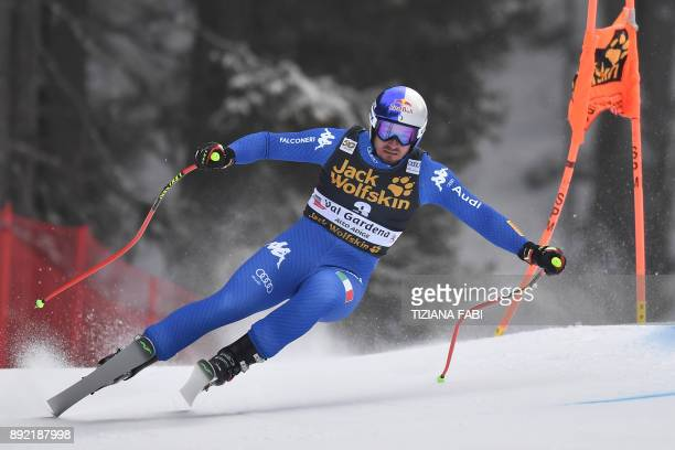 Dominik Paris of Italy competes during a training for the FIS Alpine World Cup Men Downhill on December 14 2017 in Val Gardena Italian Alps / AFP...