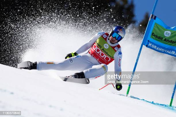 Dominik Paris of Italy competes during the Audi FIS Alpine Ski World Cup Men's and Women's Super G on March 14 2019 in Soldeu Andorra
