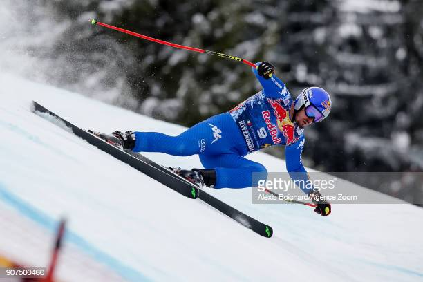 Dominik Paris of Italy competes during the Audi FIS Alpine Ski World Cup Men's Downhill on January 20 2018 in Kitzbuehel Austria