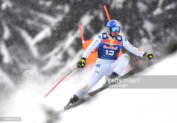 TOPSHOT Dominik Paris of Italy competes to win the men's downhill event of the FIS Alpine Ski World Cup in Kitzbuehel Austria on January 25 2019