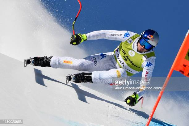 Dominik Paris of Italy in action during the Audi FIS Alpine Ski World Cup Men's and Women's Downhill Training on March 12 2019 in Soldeu Andorra