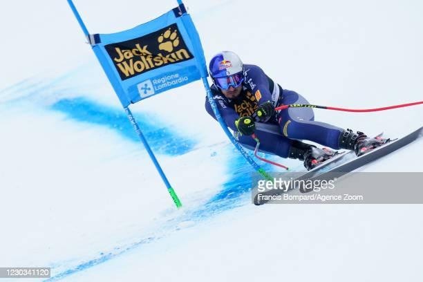 Dominik Paris of Italy in action during the Audi FIS Alpine Ski World Cup Men's Super Giant Slalom on December 29, 2020 in Bormio Italy.