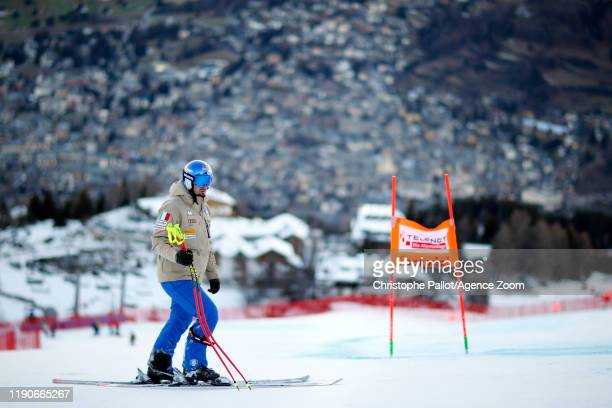 Dominik Paris of Italy inspects the course during the Audi FIS Alpine Ski World Cup Men's Downhill on December 28, 2019 in Bormio Italy.